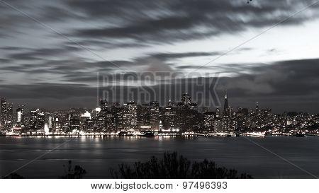 San Francisco Bay Bridge And Skyline At Night Black And White
