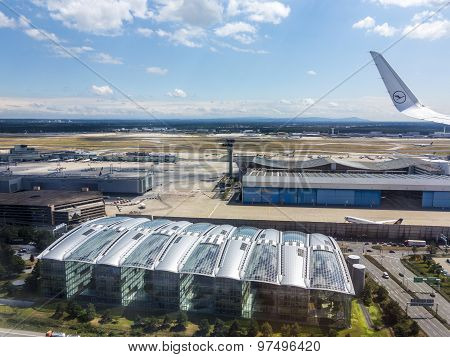 Aerial Of Airport In Frankfurt Germany