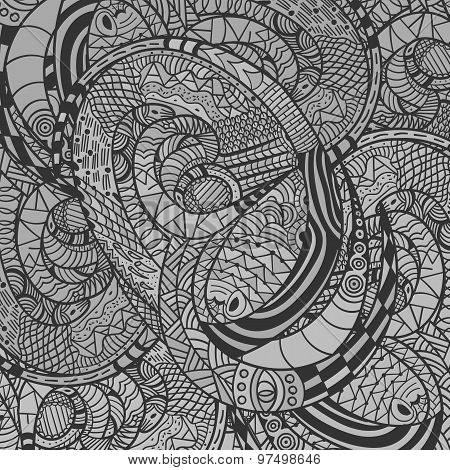 Monochrome Decorative Snake Pattern