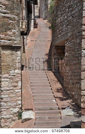 Narrow street in italian medieval town