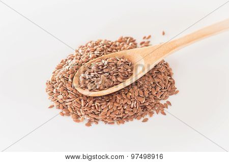 Brown Flax Seed On Clean Kitchen Table