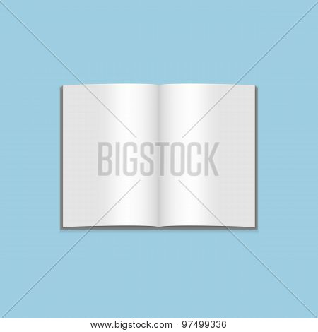 Vector Mockup Of Blank Open Magazine On Blue Background
