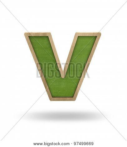 Green blank letter v shape blackboard