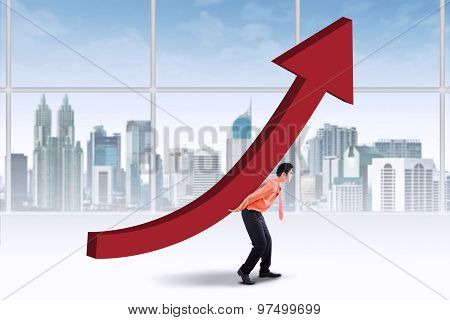 Entrepreneur Carrying Upward Chart