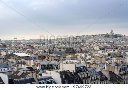 Montmartre Skyline With Basilica Sacre Coeur In Paris