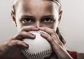 Softball girl with ball poster