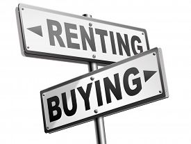 stock photo of arrow  - rent or buy mortgage for bank loan for home ownership renting or buying a house a flat building or property road sign arrow  - JPG