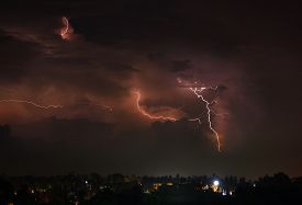 picture of lightning-rod  - Beautiful thunderstorm with lightning bolts on the Thai island of Koh Samui - JPG