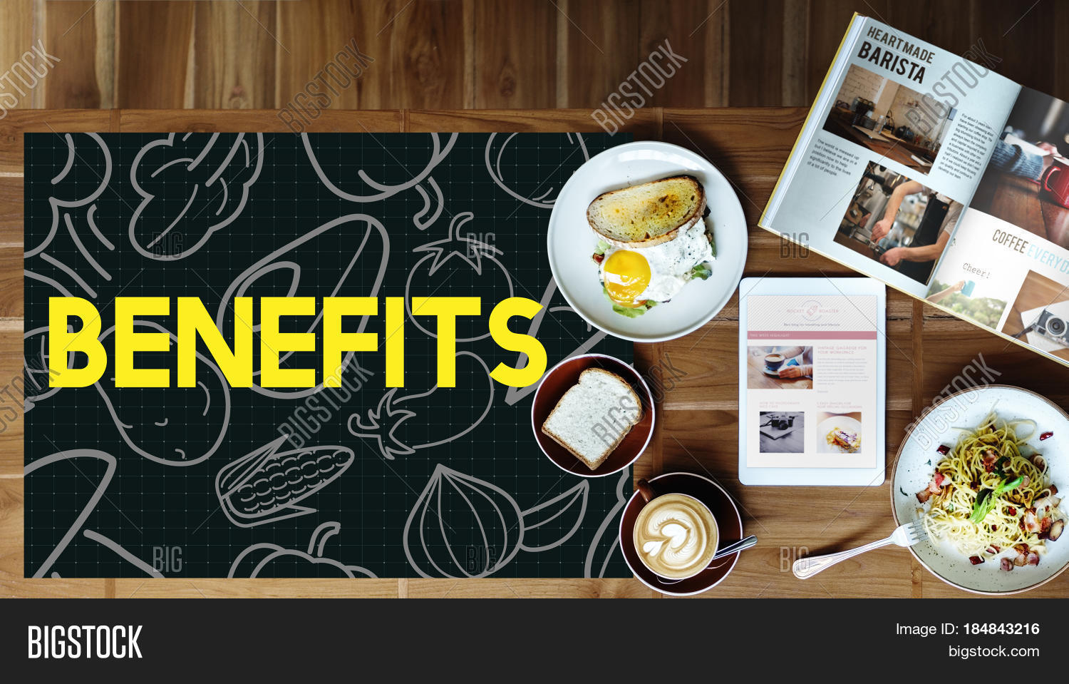 Breakfast Meal On A Wooden Table And Blackboard With