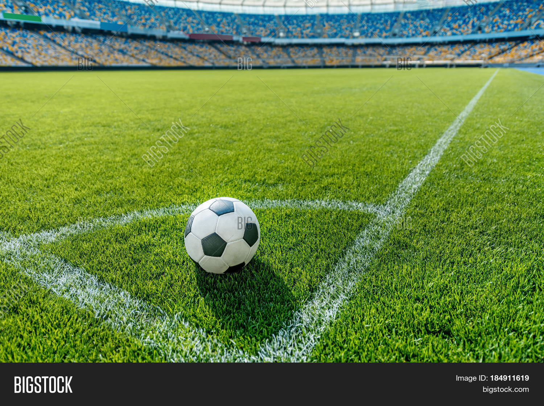 Soccer Ball On Grass Corner Kick Image & Photo | Bigstock
