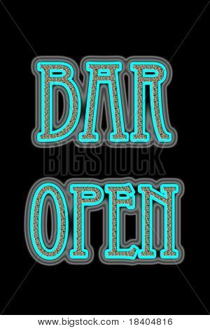 Neon Sign Bar Open on black background