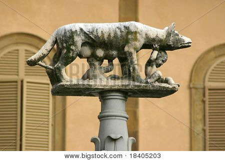 Statue of romulus and remus being nursed by a she-wolf - these two boys are said to be the joint founders of rome