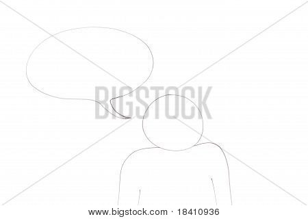 Character With A Empty Bubble For Message