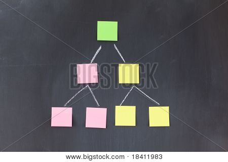 Color Sticky Notes Forming A Pyramid