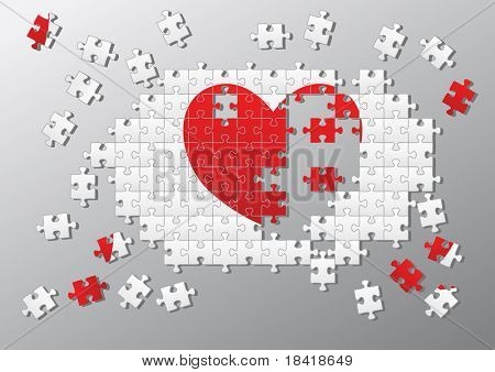 Jigsaw pieces broken heart. See vector illustration in my portfolio