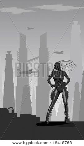 Vector illustration - Industrial gothic girl