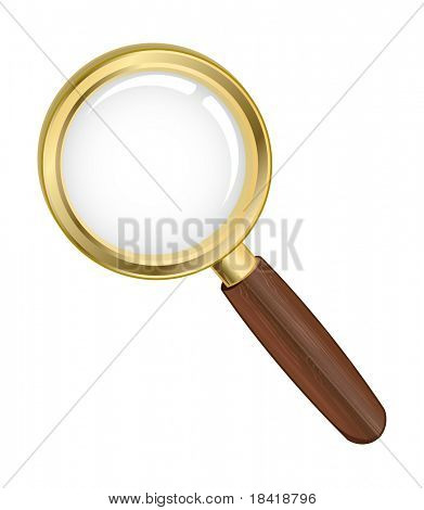 Vector illustration of a gold search icon