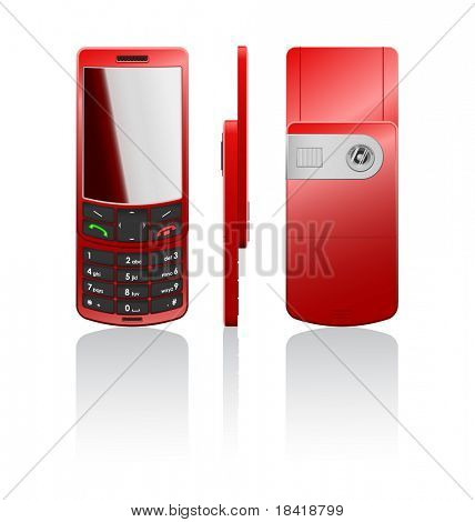 Vector photorealistic illustration of a red cellphone-slider, open
