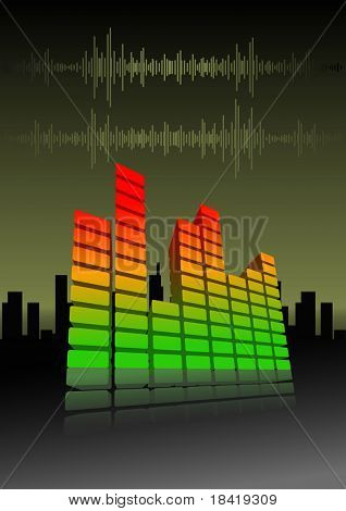 Vector illustration of an equalizer bar on abstract city background