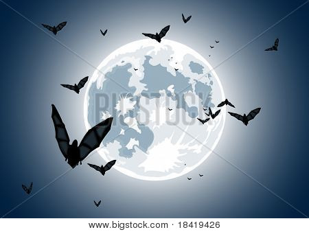 Vector illustration of realistic moon with bats in blue night sky