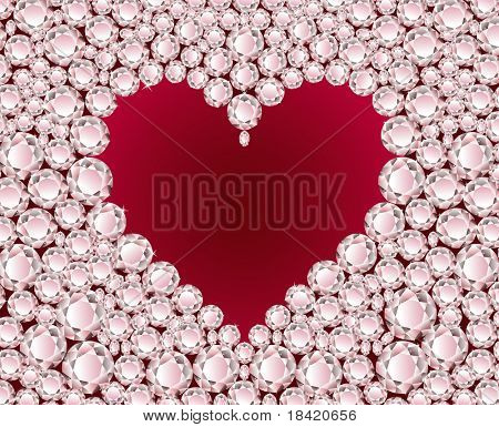 Vector red heart on shiny diamond background