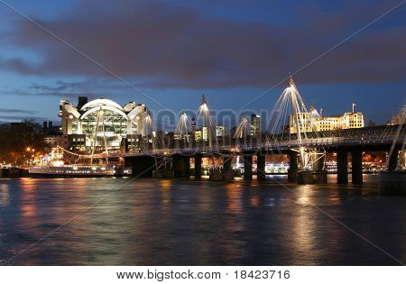 Charing Cross and Hungerford Bridge from the South bank. London.