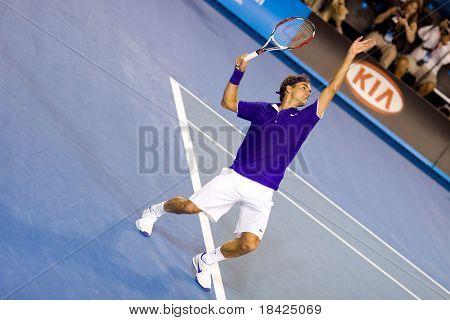 MELMELBOURNE - JANUARY 19: Tennis player Roger Federer, Switzerland at the Australian Open on January 19, 2009 in Melbourne Australia.