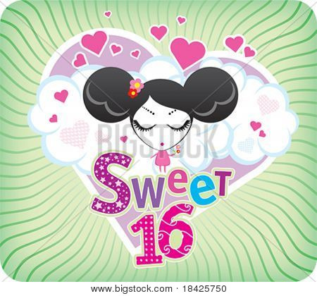 Vector Sweet Sixteen greeting card