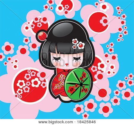 Vector Japanese Doll