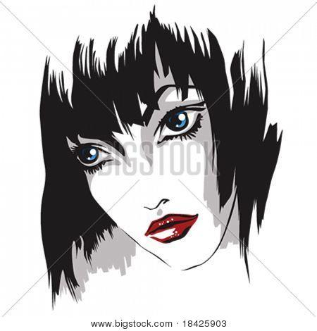Vector portrait of the girl