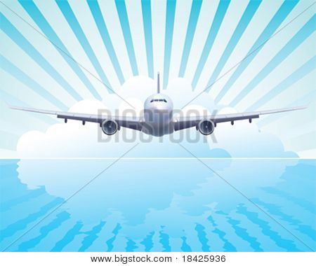 Vector illustration of the aircraft in the sky