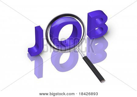magnifying glass enlarging part of 3D word job in blue with reflections