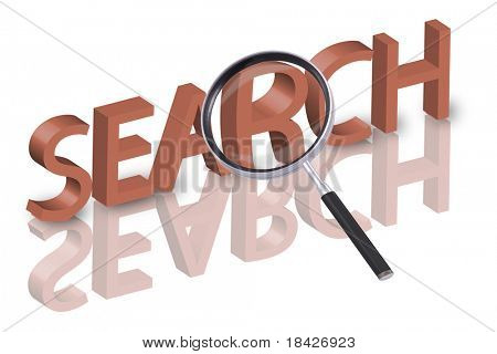 magnifying glass enlarging part of 3D word search in red with reflections