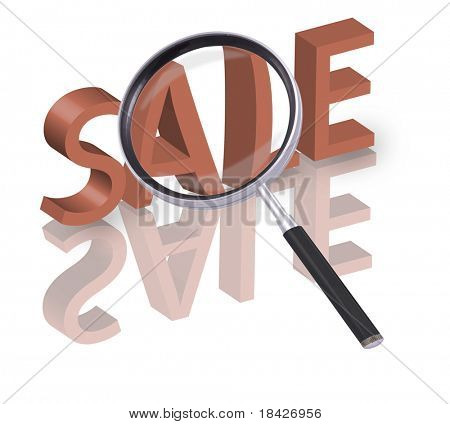 magnifying glass enlarging part of 3D word sale in red with reflections