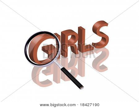 Magnifying glass enlarging part of red 3D word with reflection girls button girls icon