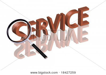Magnifying glass enlarging part of red 3D word with reflection online service service button service icon help desk support desk