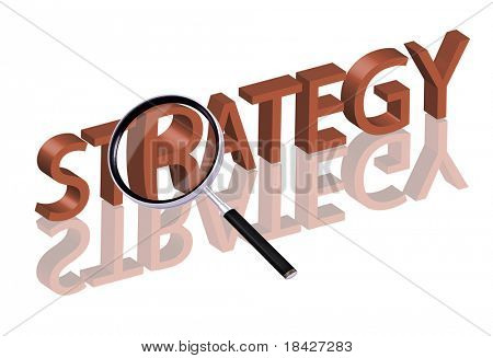 Magnifying glass enlarging part of red 3D word with reflection strategy button strategy icon