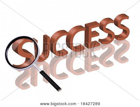 Magnifying glass enlarging part of red 3D word with reflection success button success icon succeed successful