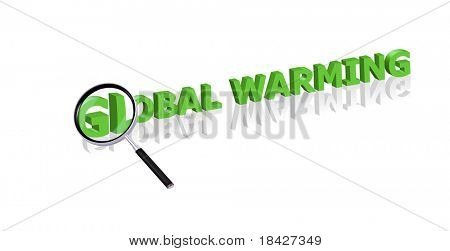 global warming button green movement ecology Magnifying glass enlarging part of red 3D word with reflection