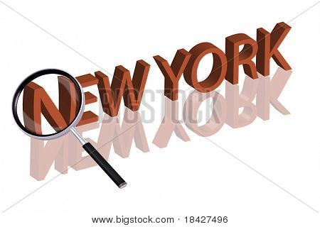exploring city red letters in 3D part of word enlarged by magnifying glass new york city trip holiday tourism icon button travel traveling visit