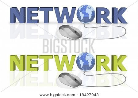 mouse click to network 3D word with globe incorporated