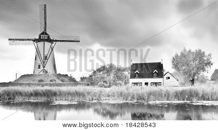 old windmill landscape canal mill clouds black and white monochrome