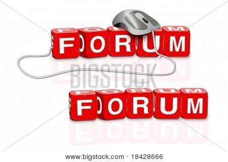 red dices spelling the word forum with or without mouse
