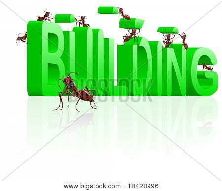 ants building word under construction,creation realization