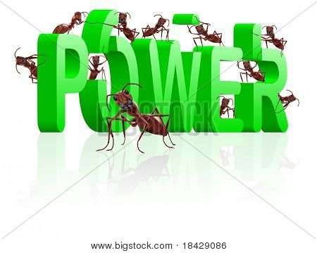 power and strength ants building green word strong