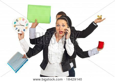 Shocked Business Woman Talking By Phone Mobile