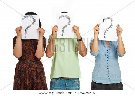 Three People Holding Question Mark