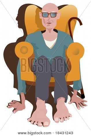 Old man sitting in armchair without legs. Instead he keep floor with his hands and feet. Picture show how difficult is pensioner life. Vector illustration.