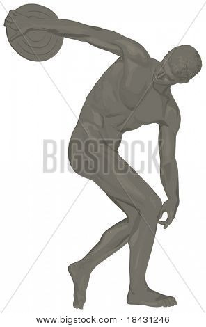 Famous Discobolus over white. Vector monochromatic grey illustration with light shadows.