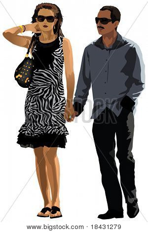 Interracial dating. Arab with white woman. Vector detailed color illustration. Summer clothes.
